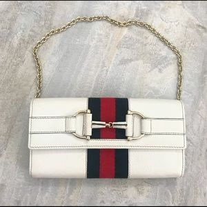 Gucci Red & Blue Stripe Web Wallet on Chain